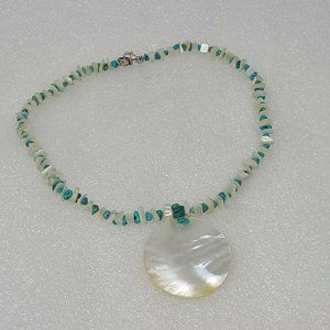 Peyote Bird White Shell & Turquoise Necklace 925